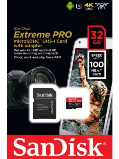 SanDisk Extreme PRO microSDHC 32GB 100MB/s + SD adapter