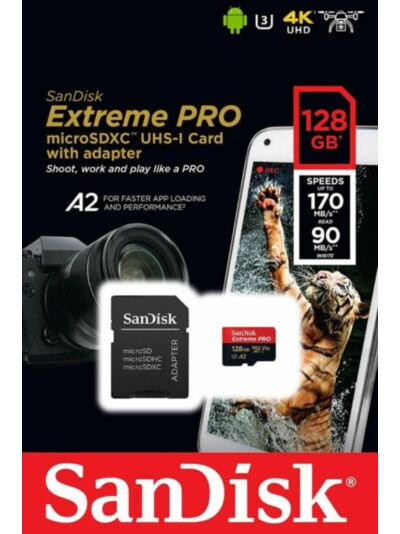 SanDisk Extreme PRO microSDXC 128GB 170MB/s + SD adapter
